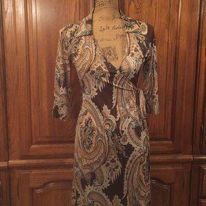 Vintage Glam Paisley Print Wrap Dress Size Medium